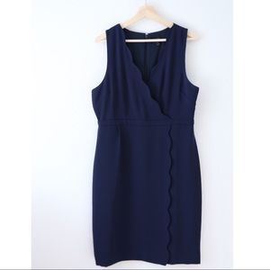 J. Crew Navy Scallop Sleeveless Sheath Dress Sz 14